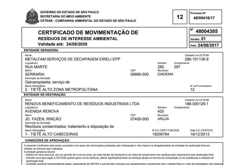 CADRI DESTINAÇÃO RESIDUO CETESB