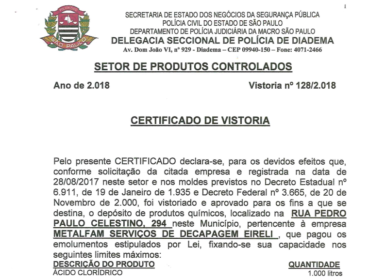 CERTIFICADO DE VISTORIA POLICIA CIVIL 14.08.2018